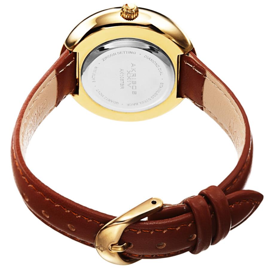 Quartz Diamond Crystal White Dial Ladies Watch AK1067BR