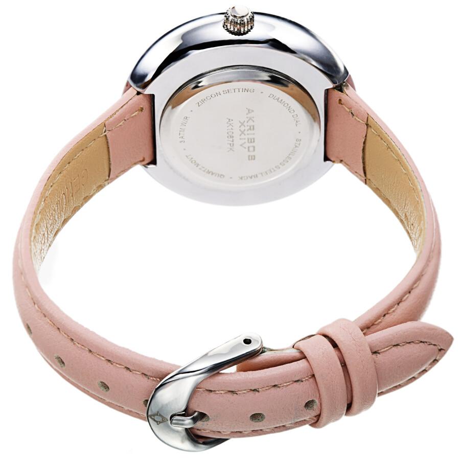 Quartz Diamond Crystal White Dial Ladies Watch AK1067PK