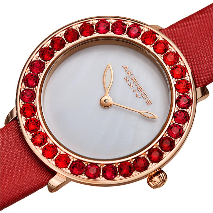 Quartz White Dial Red Leather Ladies Watch AK1093RD