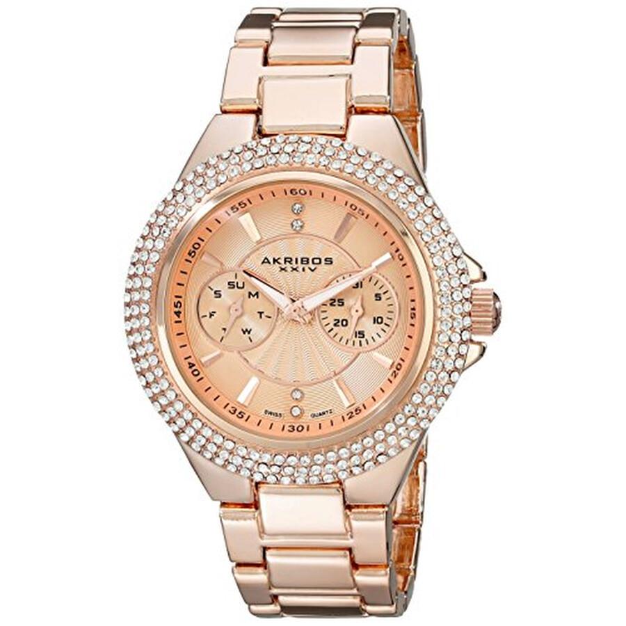 Rose Gold Dial Multi-function Quartz Ladies Watch AK789RG