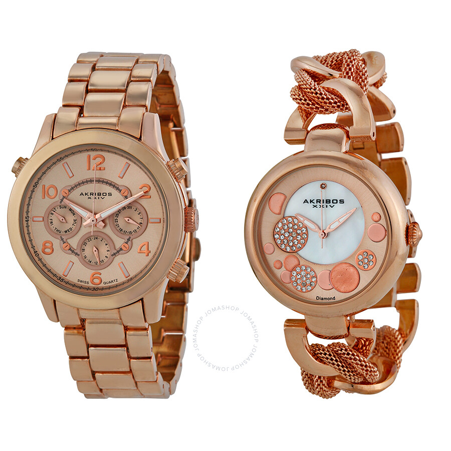 Akribos xxiv rose gold tone stainless steel watch set ak676rg akribos xxiv watches jomashop for Akribos watches