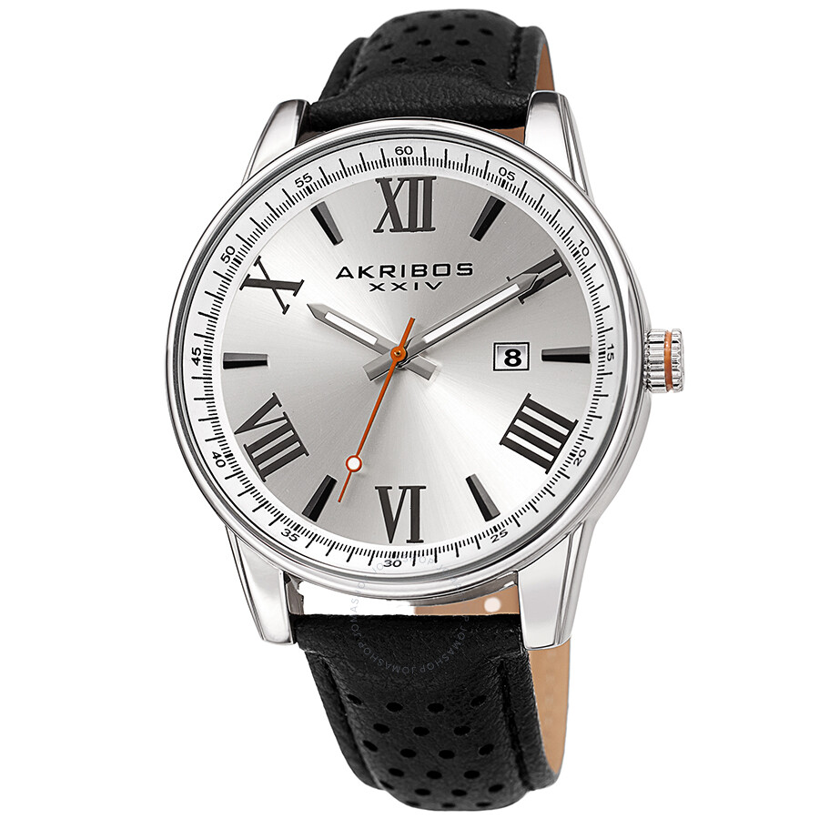 Akribos xxiv perforated strap silver dial men 39 s watch ak1048ss akribos xxiv watches jomashop for Akribos watches