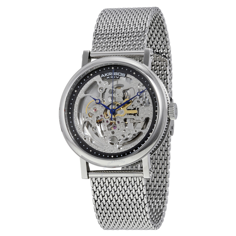 Akribos xxiv silver tone stainless steel men 39 s watch ak732ssb akribos xxiv watches jomashop for Akribos watches