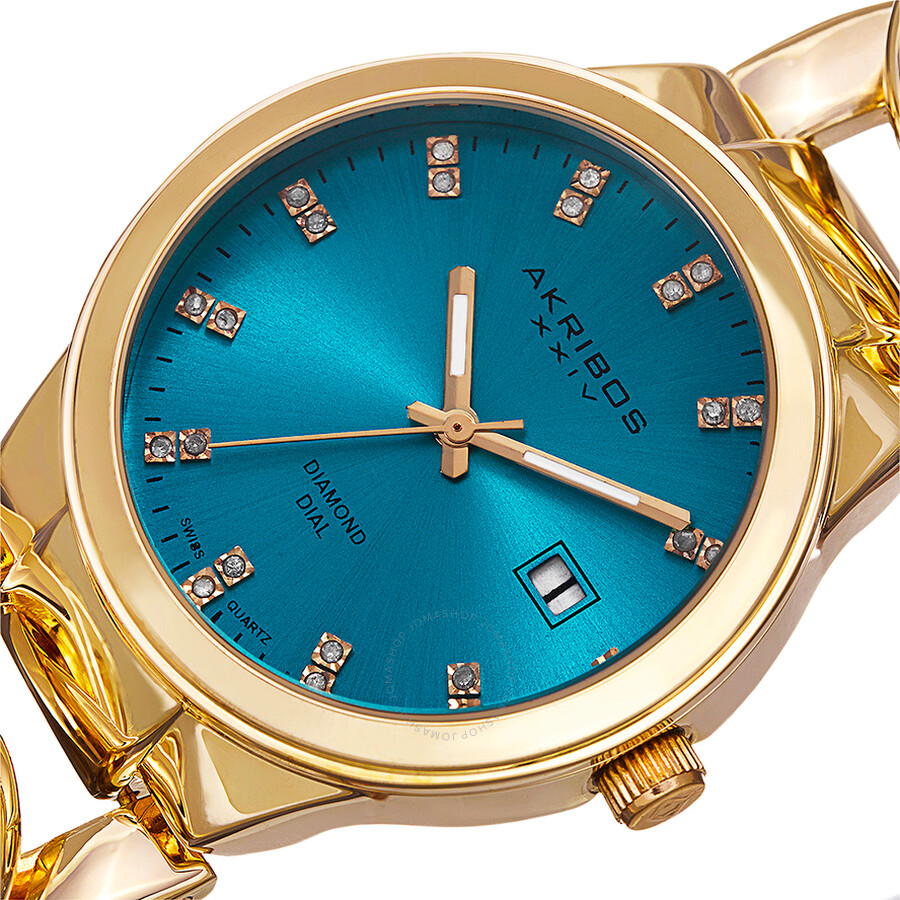 Akribos xxiv turquoise dial gold tone base metal ladies watch ak759ygtq akribos xxiv watches for Akribos watches