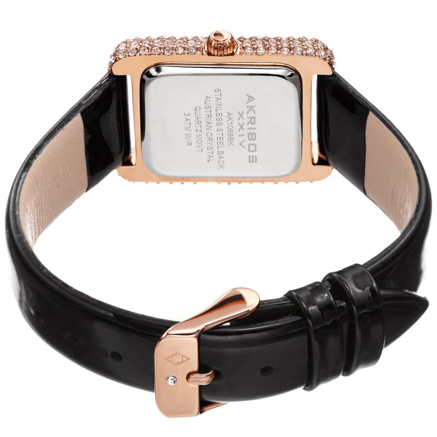 White Dial Black Leather Ladies Watch AK1068BK