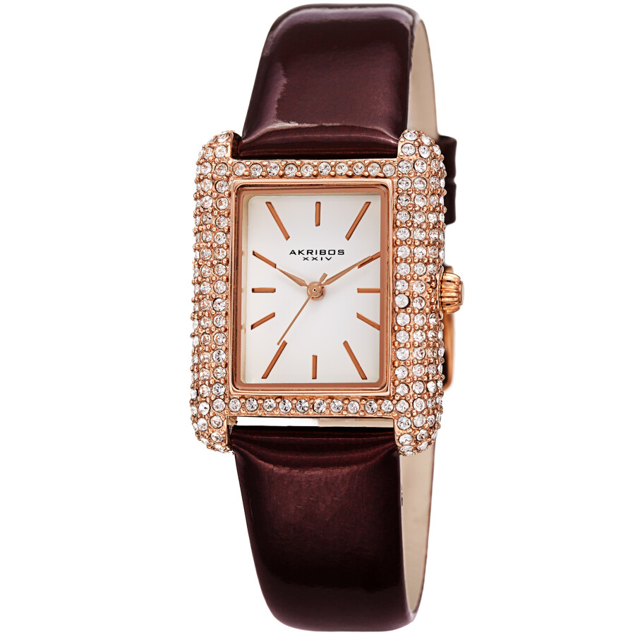 White Dial Brown Leather Ladies Watch AK1068BR