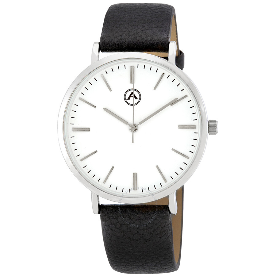 Alba by akribos white dial leather men 39 s watch 1033ss akribos xxiv watches jomashop for Akribos watches