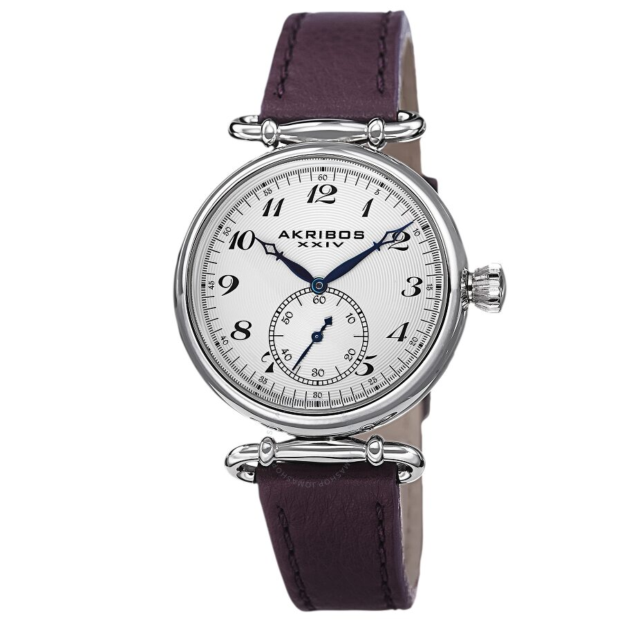 Akribos xxiv white dial purple leather ladies watch ak704pu akribos xxiv watches jomashop for Akribos watches