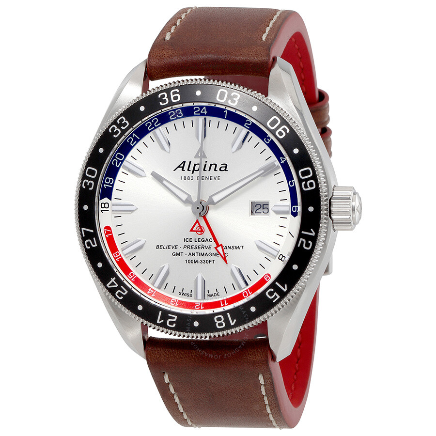 dress watch gmt alpina alpiner 4 gmt automatic silver sunray dial men u0027s watch