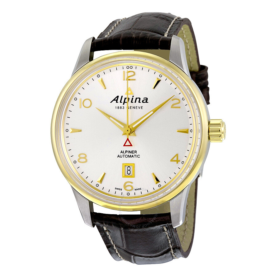 Alpina Alpiner Automatic Silver Dial Brown Leather Men's ...