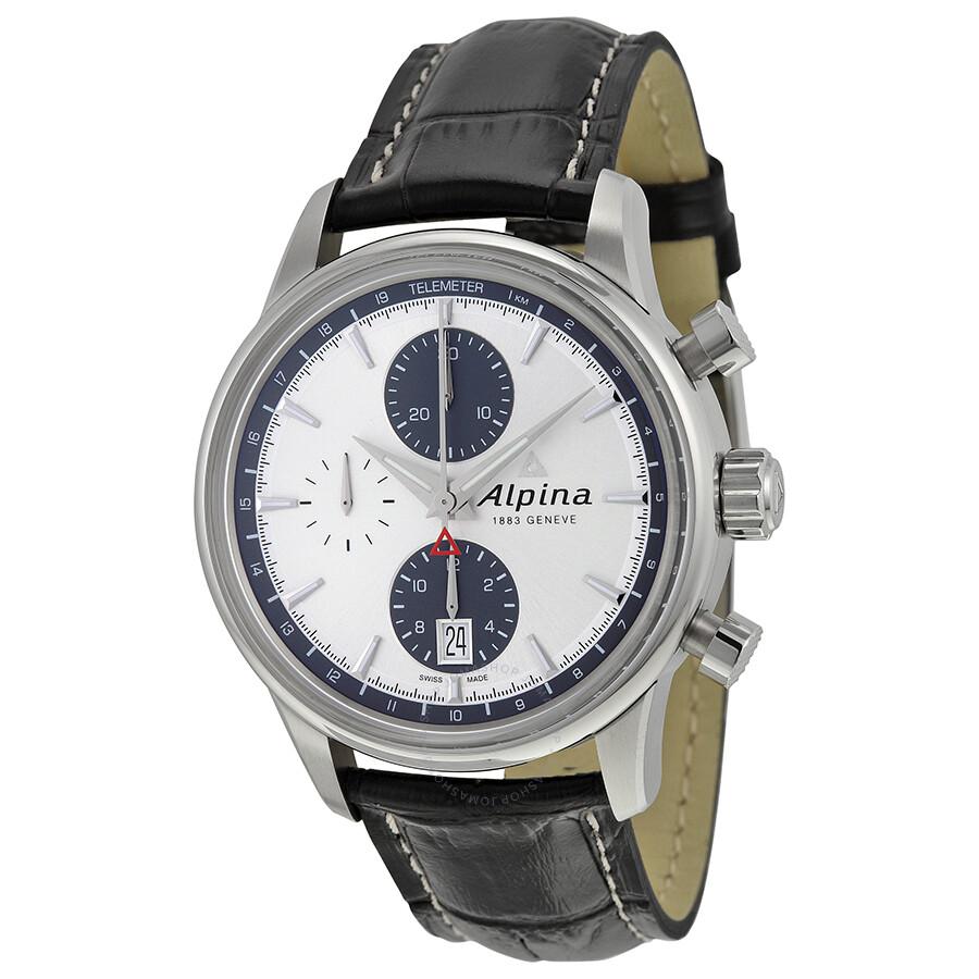 Alpina Alpiner Chronograph Automatic Silver Dial Black ...