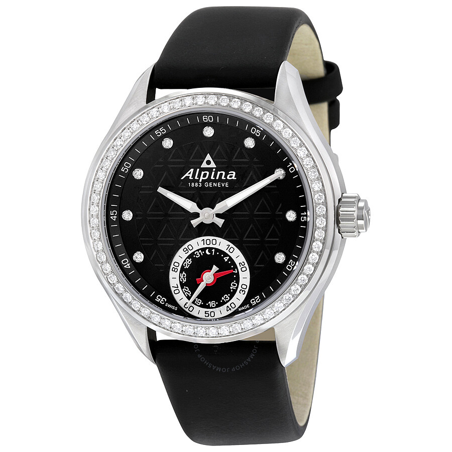 Alpina Horological Smartwatch Black Dial Ladies Watch AL-285BTD3CD6 ... 9d4905a65a