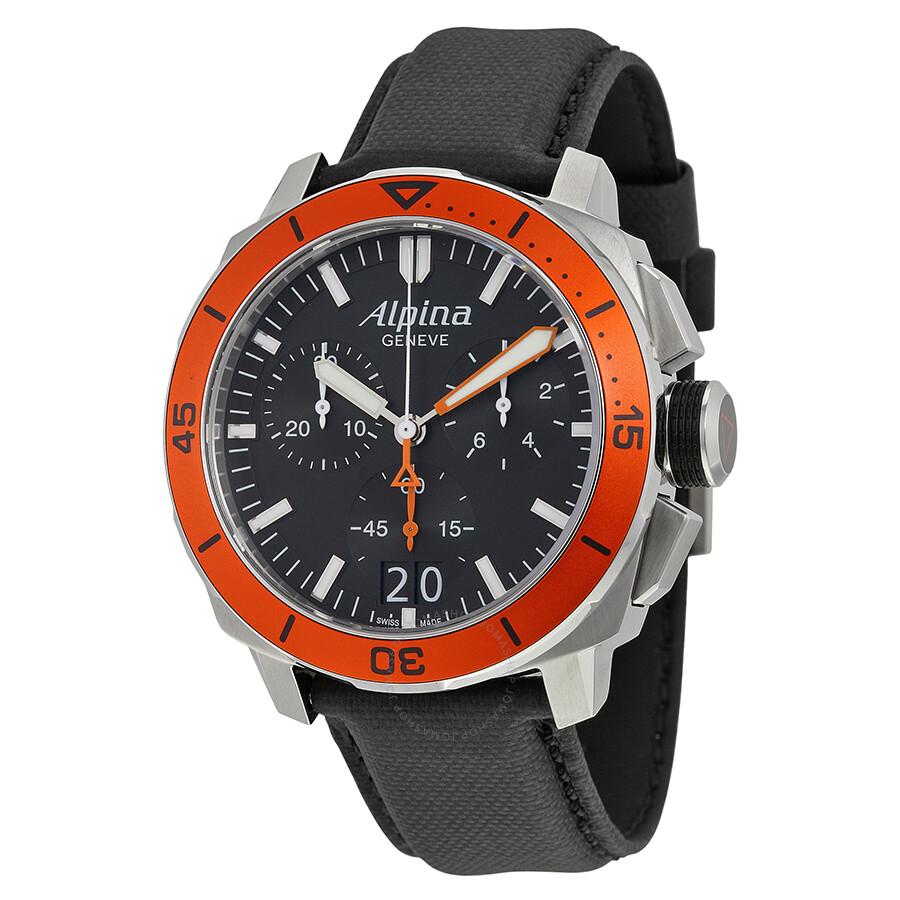 Alpina Seastrong Diver 300 Big Date Chronograph Black Dial ...