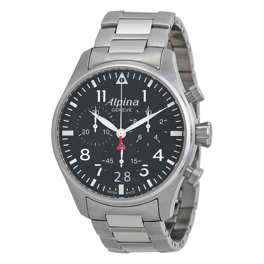 Alpina Startimer Black Dial Stainless Steel Bracelet Men's ...