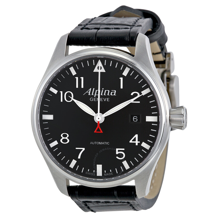 alpina startimer pilot automatic black dial leather strap men 39 s watch al525b3s6 startimer. Black Bedroom Furniture Sets. Home Design Ideas