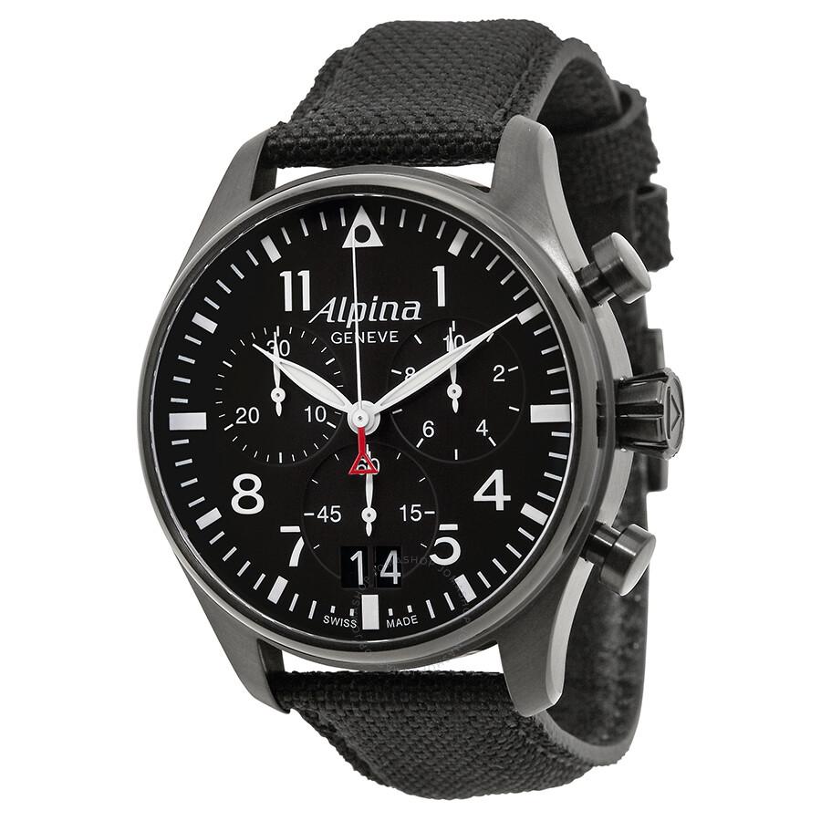 Alpina Startimer Pilot Black Dial Black Fabric Strap Men's ...