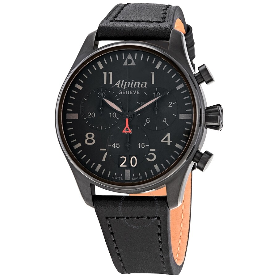 Startimer Pilot Chronograph Black Dial Men's Watch by Alpina