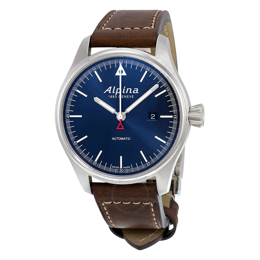 alpina startimer pilot navy sunray dial brown leather strap men 39 s watch al 525n4s6 startimer. Black Bedroom Furniture Sets. Home Design Ideas