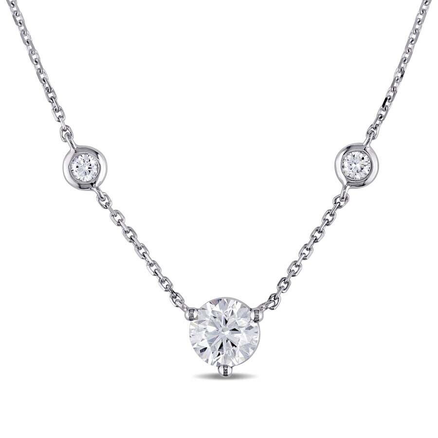 bcd51877f6795 Amour 1 1/5 CT TW Diamond Station Necklace in 14k White Gold JMS005511
