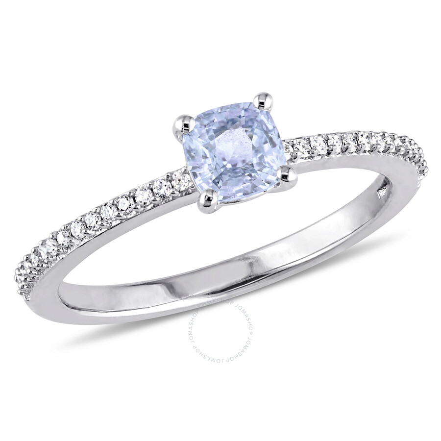 Light Blue Sapphire Enement Rings | Amour 1 10 Ct Tw Diamond And Light Blue Sapphire Engagement Ring In