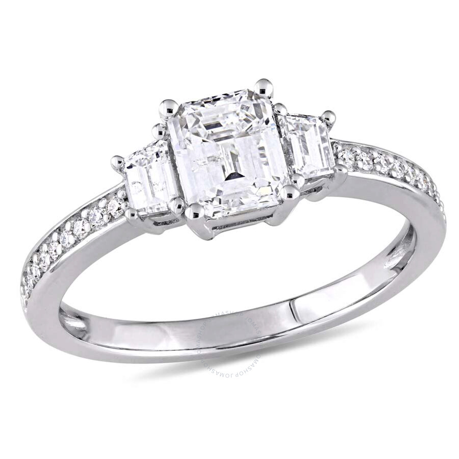 6deaead006498 Amour 1 1/3 CT TW Emerald Cut & Trapezoid Cut Diamond 14K White Gold  Engagement Ring- Size 9