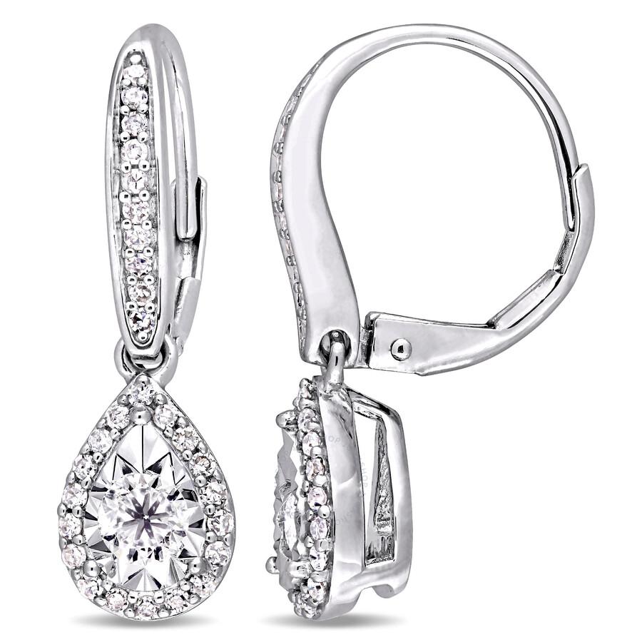 Amour 1 2 Ct Diamond Halo Teardrop Sterling Silver Leverback Earrings Jms004478