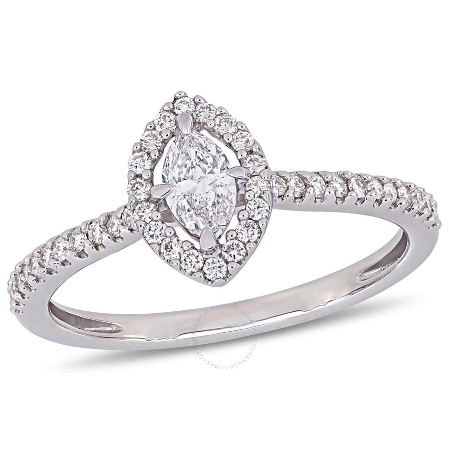 Engagement Rings Marquise: Amour 1/2 CT Marquise And Round Diamonds TW Engagement