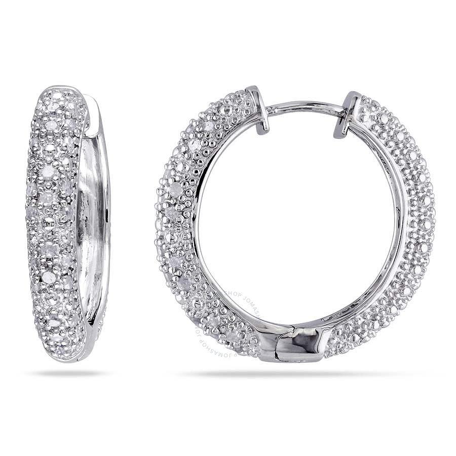 1//3 ct Diamond Hoop Earrings in Sterling Silver /& 14K Gold