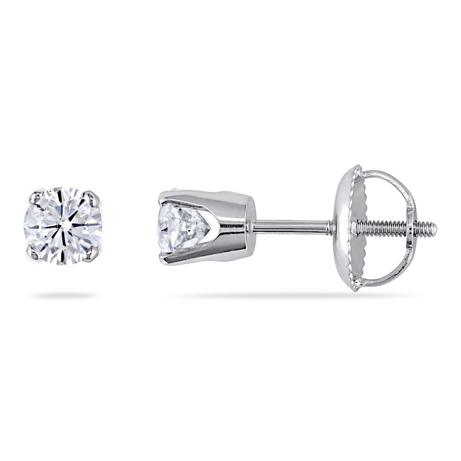 fb9764209 Amour 1/2 CT TW Diamond Stud Earrings with Screwbacks in 14K White Gold  JMS003111 ...