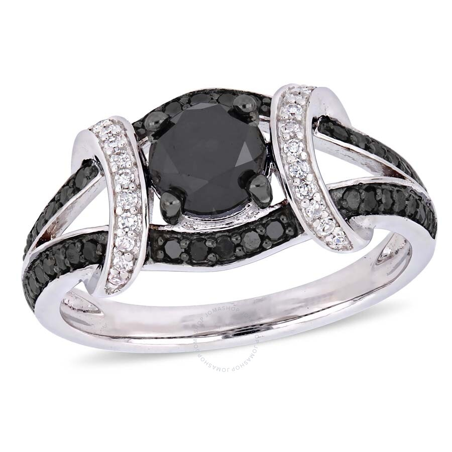 87869da89da779 Amour 1 3/8 CT TW Black and White Diamond Split Shank Ring in 10k ...