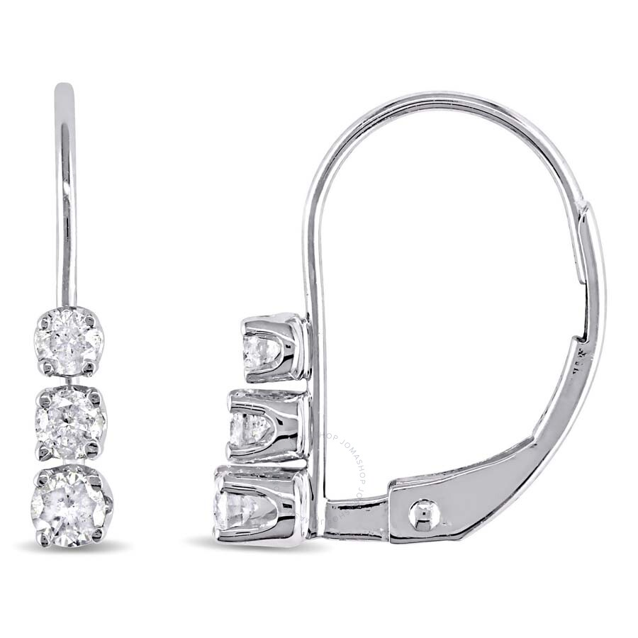 Amour 1 4 Ct Tw 3 Stone Diamond Leverback Earrings In 14k White Gold 7500064402