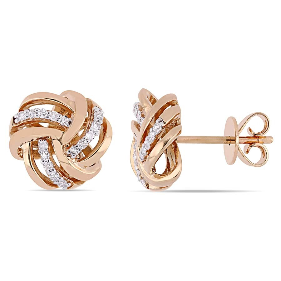 Amour 1 6 Ct Tw Diamond Knot Stud Earrings In 14k Rose Gold Jms004990