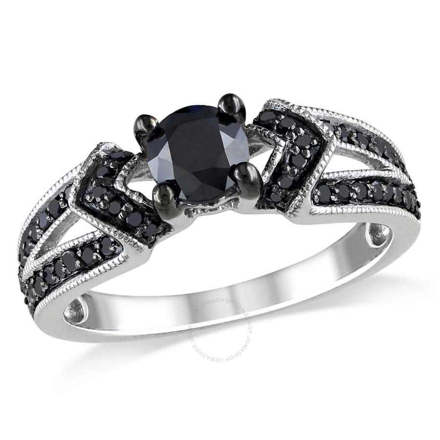 Amour 1 CT Black Diamond Sterling Silver Engagement Ring Size 8 Amour L