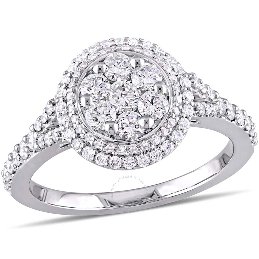 4370aa2df0f Amour 1 CT TW Diamond Cluster Vintage Halo 14K White Gold Engagement Ring-  Size 8 Item No. JMS004140-0800