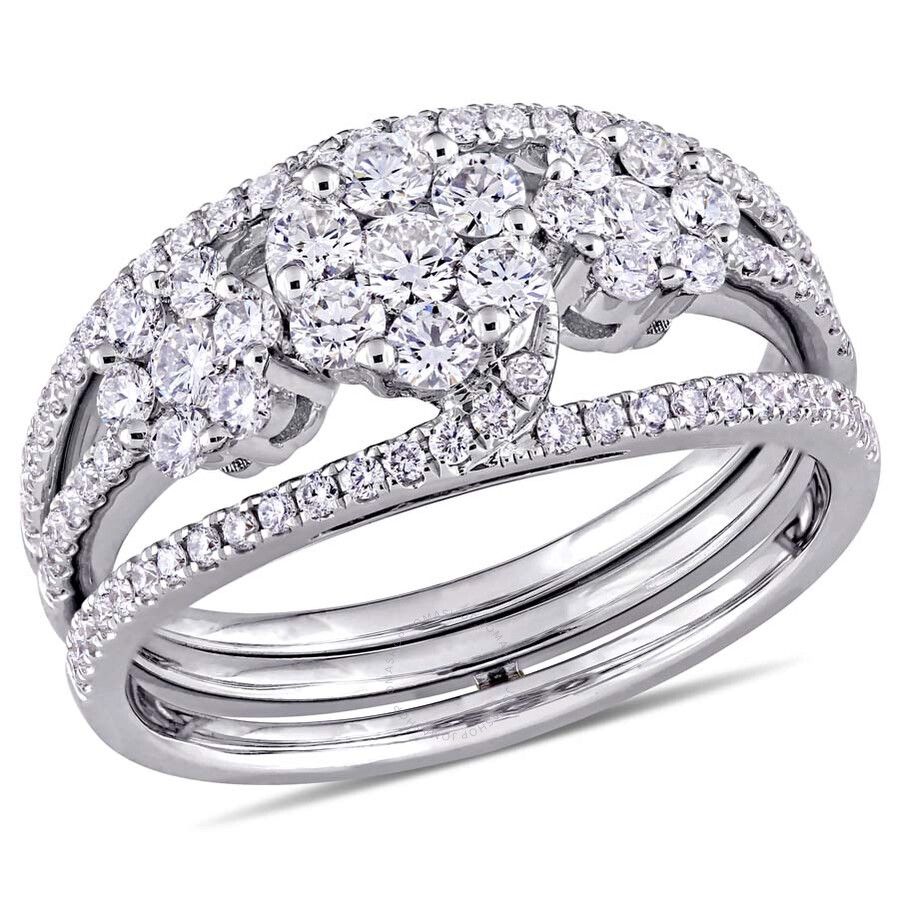 Amour 1 Ct Tw Diamond Flower 3 Piece Stackable Ring Set In 14k White Gold