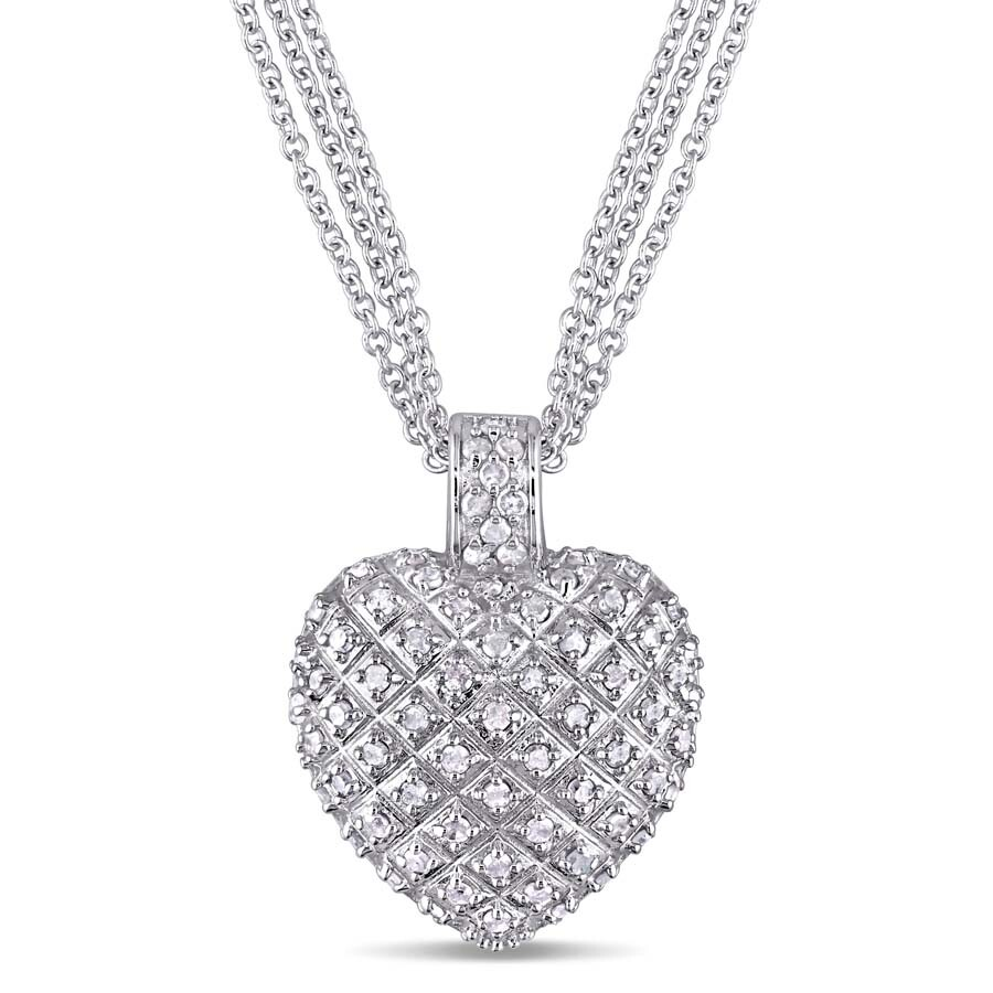 a95b4a64bc39a Amour 1 CT TW Diamond Heart Pendant with Triple Chain in Sterling Silver  7500022293