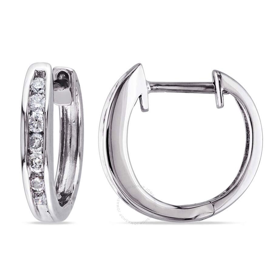 Amour 10 Karat White Gold Diamond Hoop Earrings Amour Ladies