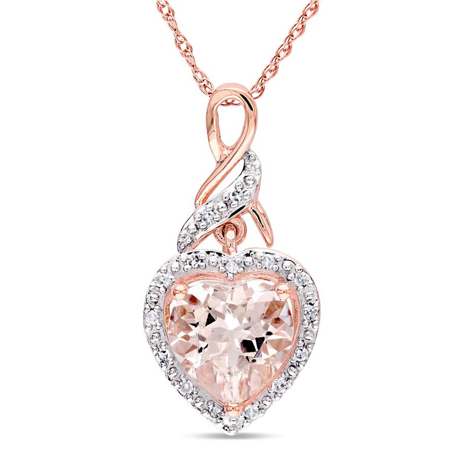 amour 10k pink gold morganite and necklace