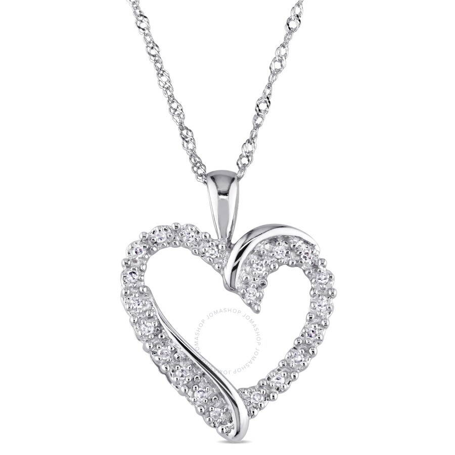 10k White Gold 1//10 Ct Diamond TW Love Heart Pendant With Chain GH I2;I3