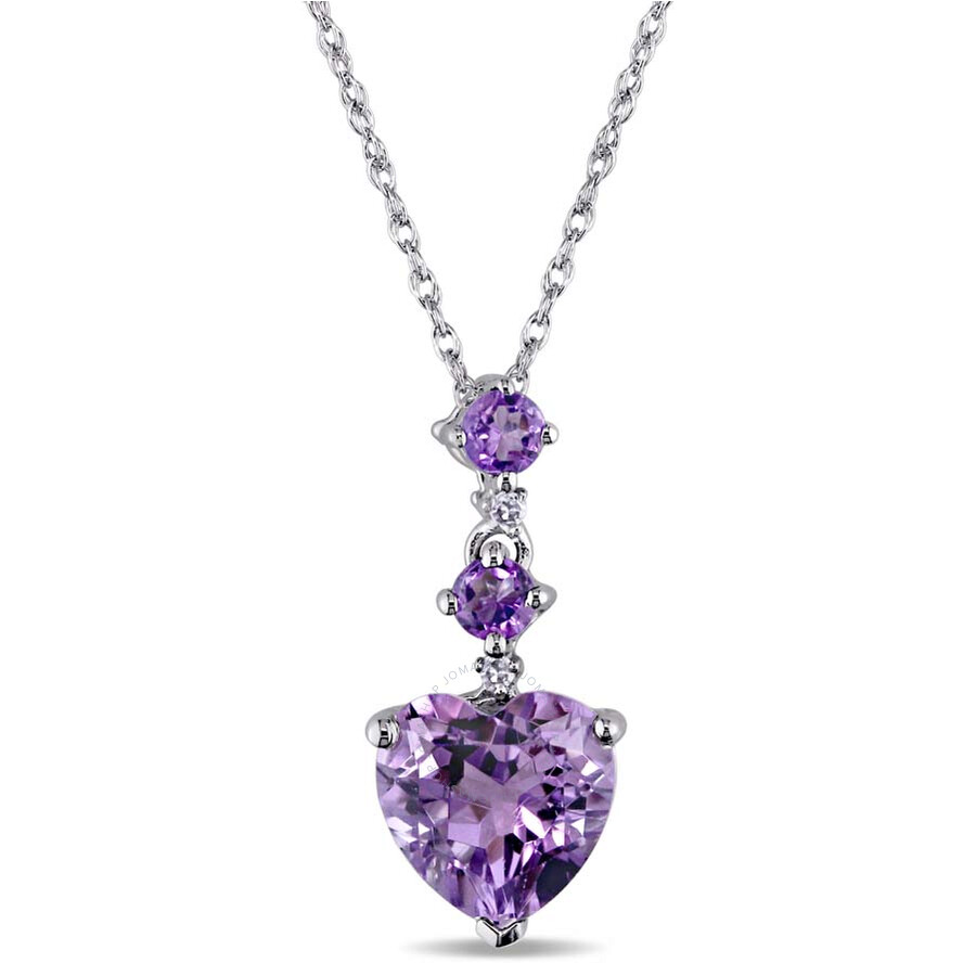 amour 10k white gold amethyst and necklace