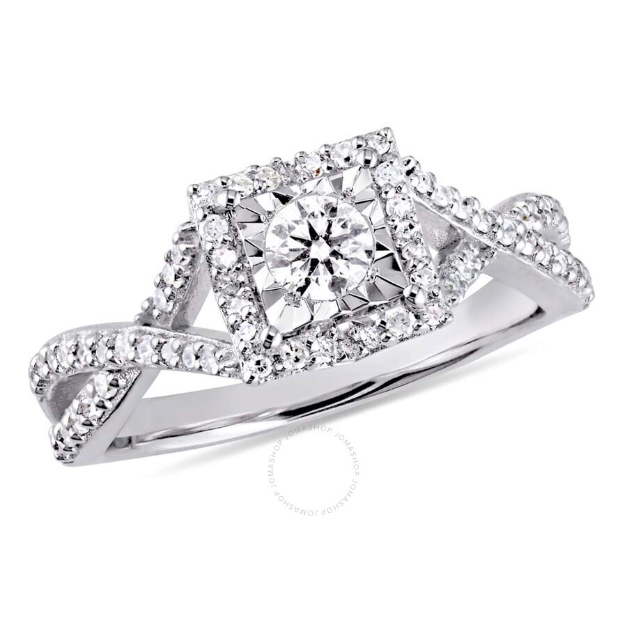 2 Ct Tw Diamond Halo Crossover Sterling Silver Engagement Ring