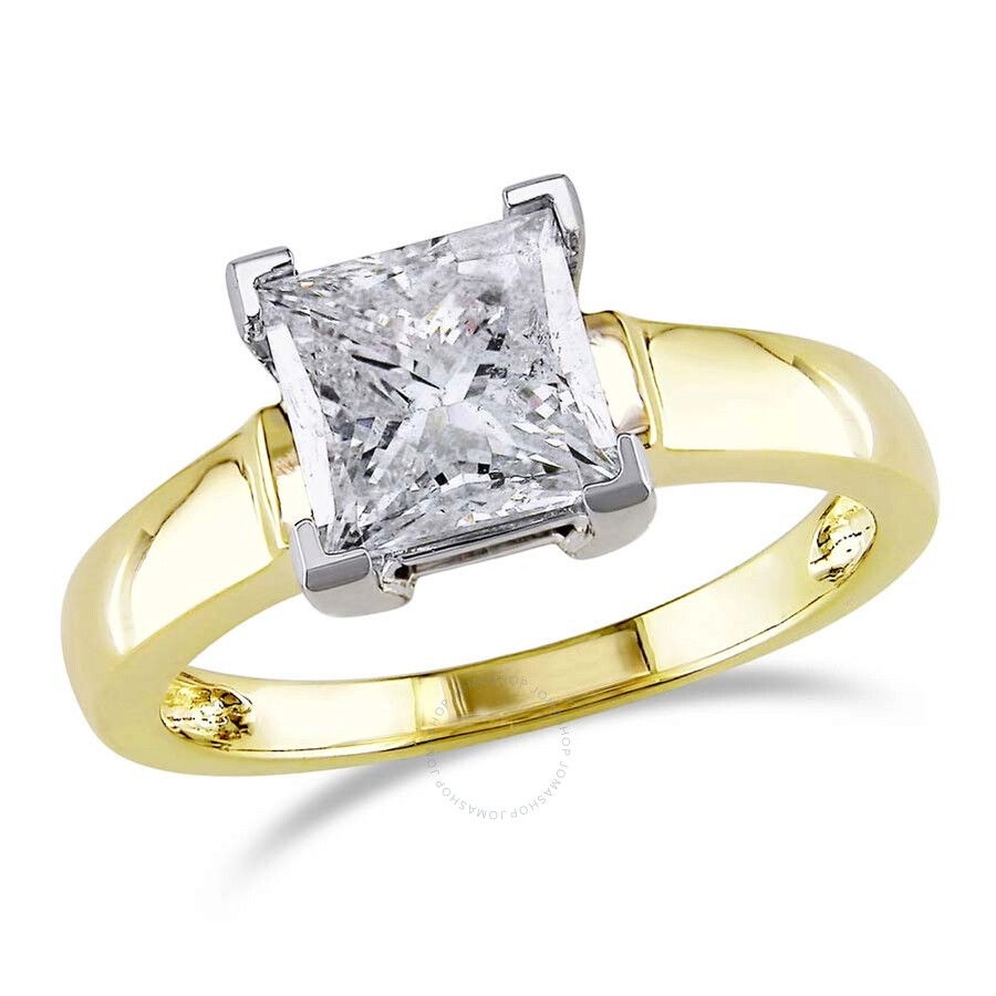 amour 14 karat white and yellow gold solitaire