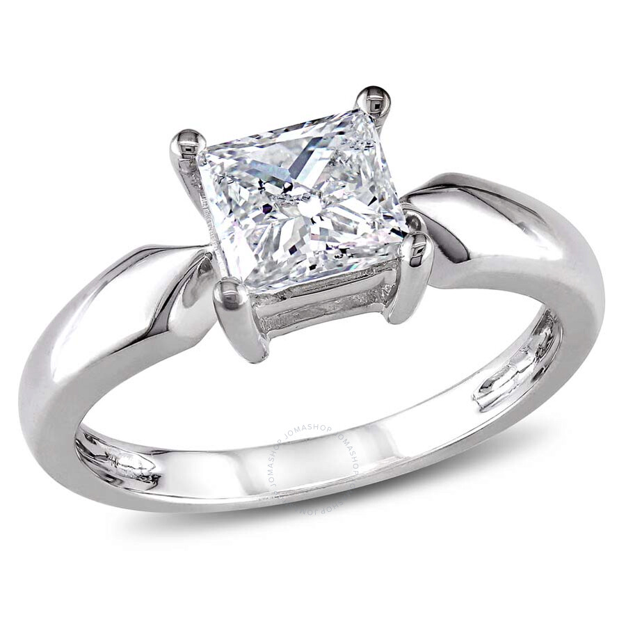 Amour 14 Karat White Gold Diamond Solitaire Engagement Ring Size 9 Amour