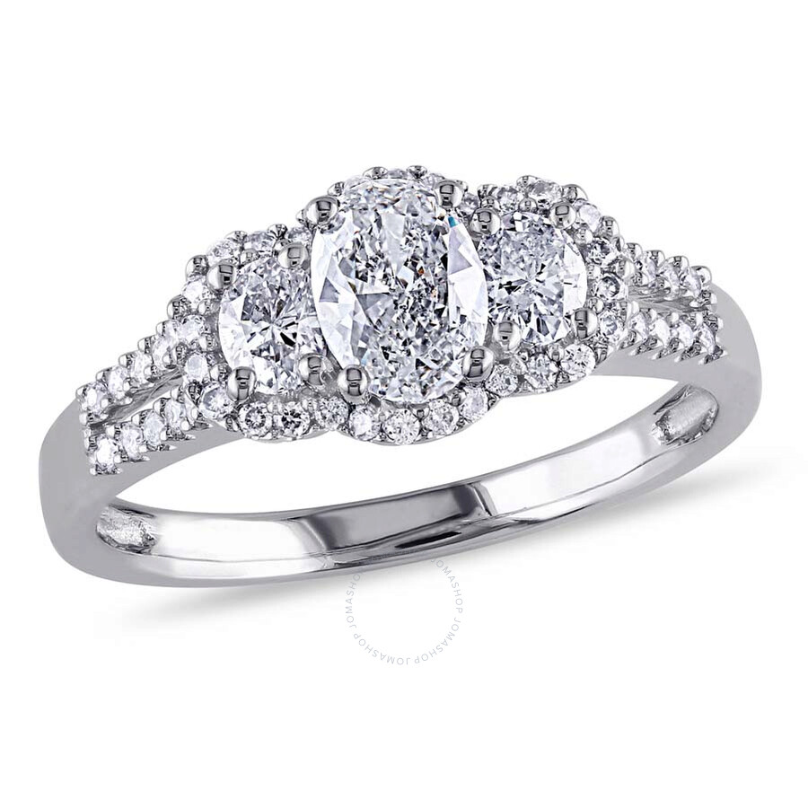 Amour 14 Karat White Gold Oval and Round Diamond Engagement Ring Size 9 Am