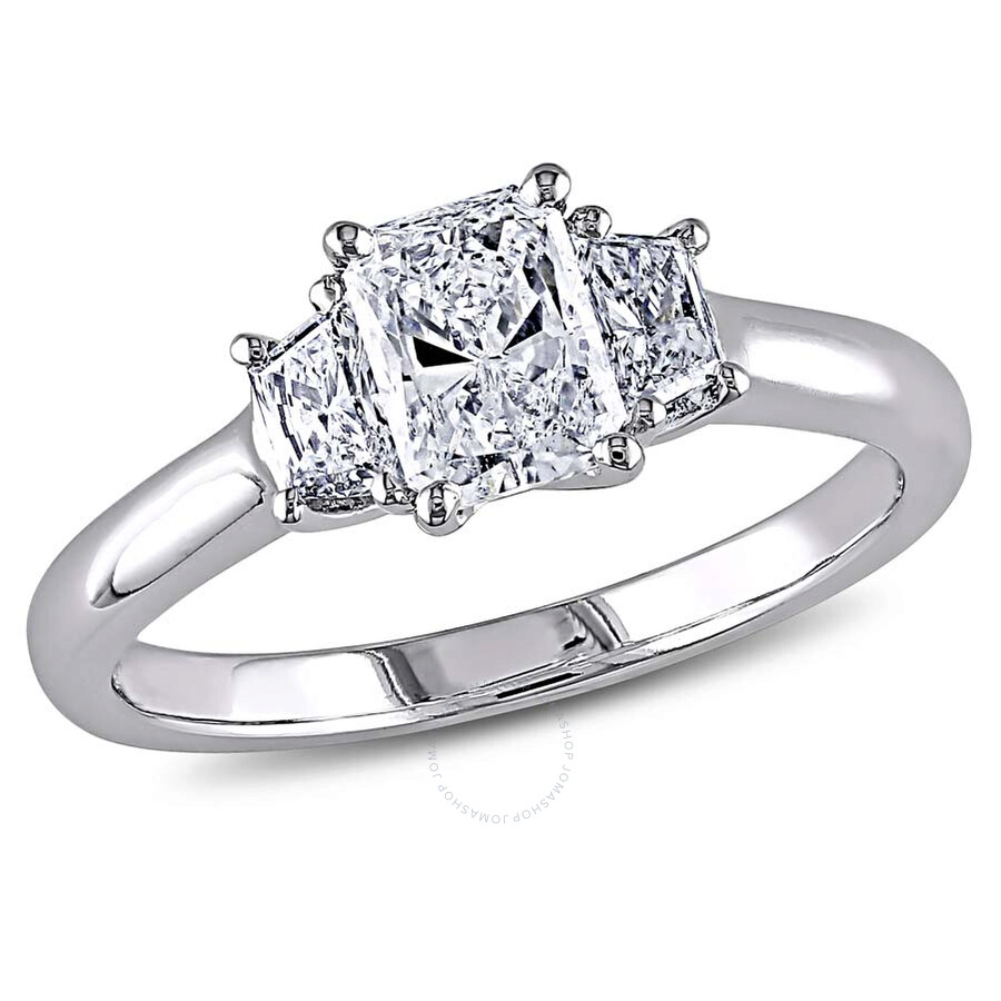 Amour 14 Karat White Gold Radiant and Trapezoid Diamonds Engagement Ring Siz