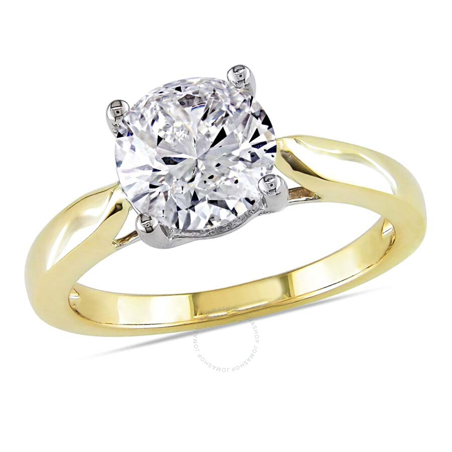 Amour 14 Karat Yellow Gold Diamond Solitaire Engagement Ring Size 9 Amour