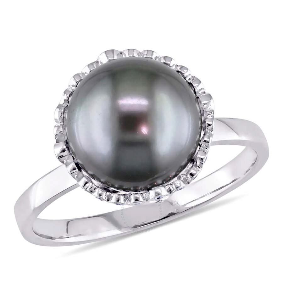 Fine Jewelry Tahitian Gray Pearl Diamond 14k White Gold Flower Halo Floral Vintage Ring Gift Fine Rings