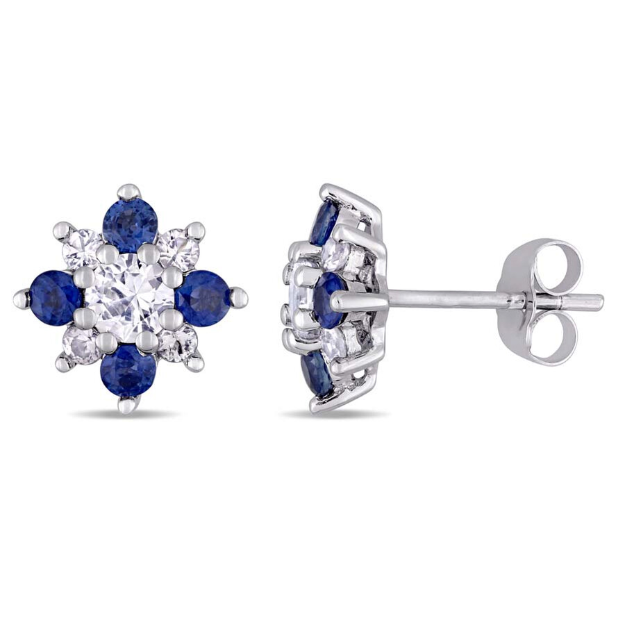 0036f2d99 Amour 14K White Gold Sapphire and Diamond Floral Stud Earrings Item No.  JMS004218