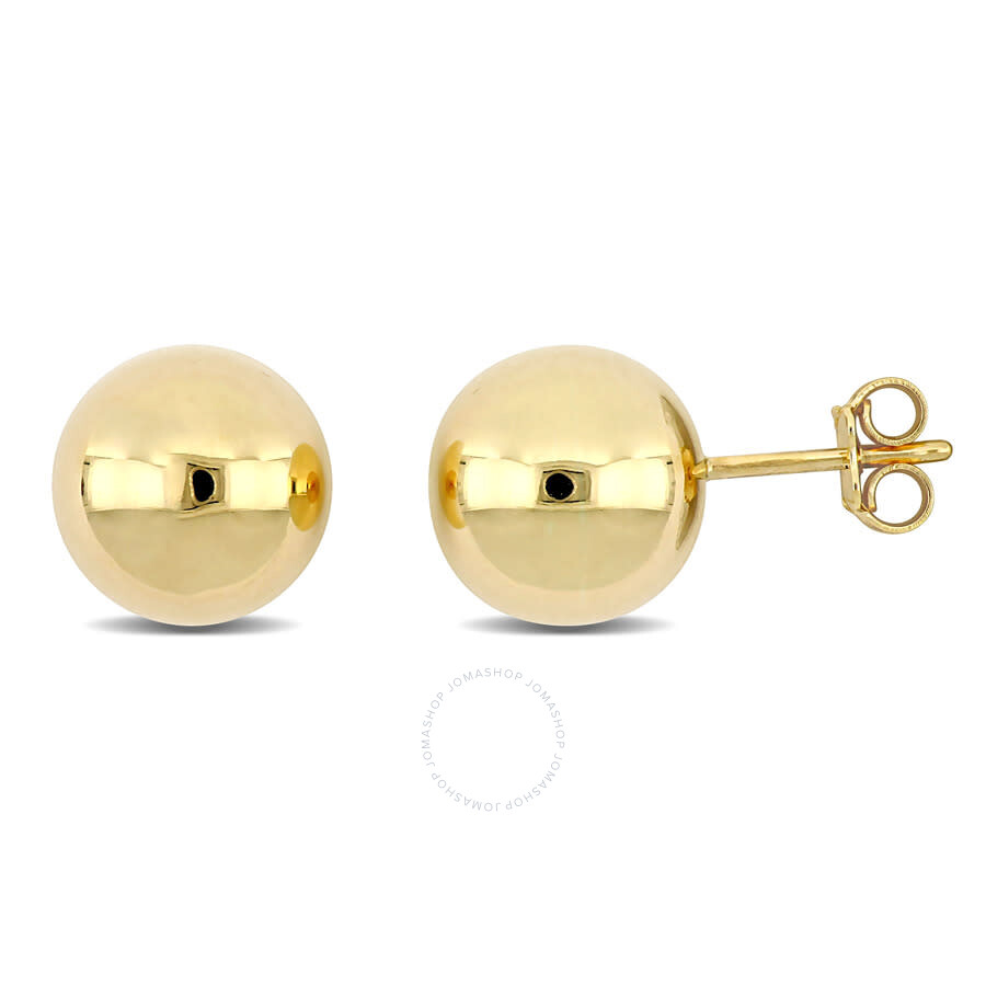 Amour 18k Yellow Gold Ball Earrings