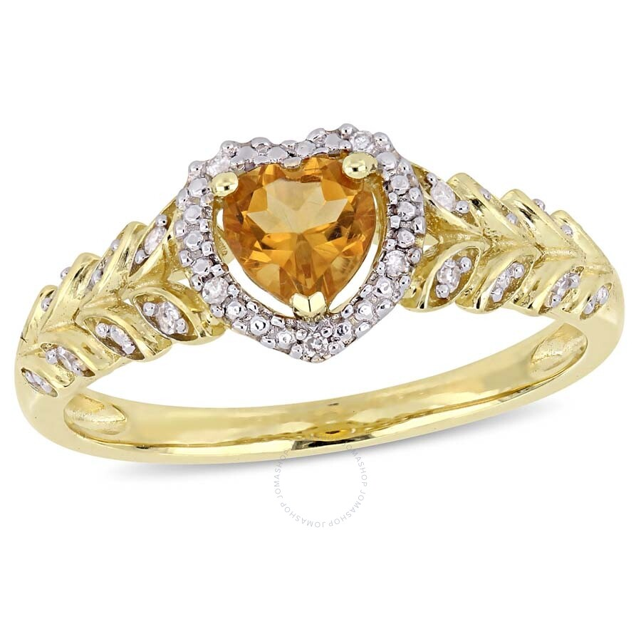 Amour 10k Yellow Gold Citrine and Diamond Heart Halo Ring
